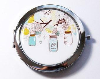 Flower Mirror, Compact mirror, Pocket mirror, mirror, Mirror for purse, Nature, flowers, mason jars, flower mirror (2747)