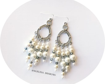 White Pearl and Silver Chandelier Earrings, Bohemian Gypsy Earrings, Latina Fashion, Gifts for Women, Mothers Day