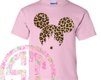 Mouse & Castle Heat Transfer Leopard Short Sleeve T Shirt Gildan (or similar brand)