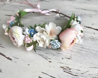 Flower crown, pink floral crown, candy maddie well dressed wolf, flower girl crown, bridal crown
