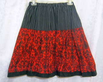 Red Black Lace Twirly Gothic Lolita OOak Skirt-Adjustable Waist Size 24-34-Gift