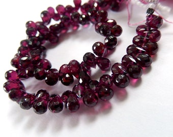 Garnet Gemstone. Faceted 5-6mm Teardrop Briolette. Semi Precious Gemstone.  6 Briolettes. (fgn)