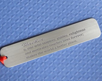 Engraved Aluminum Bookmark, Definition of Teacher Bookmark, Teacher Gift, Gift from Student, Gift for Him or Her, Christmas/Holiday Gift