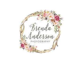 Wreath flower logo premade logo design floral logo rustic logo bohemian logo boutique logo