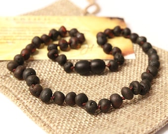 Baltic Amber Teething Necklace for Babies Boy - RAW Unpolished Cherry Rounded Beads - Amber Baby Necklace - Gift With Certificate