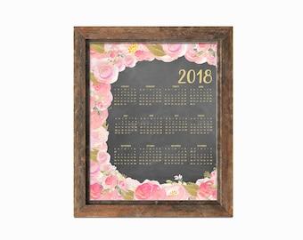 Printable One Page 2018 Calendar - 8x10   Instant Download   Chalkboard Design   Floral Art   Watercolor   Digital Print
