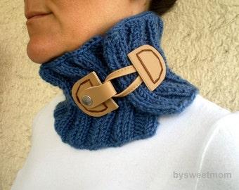 SALE % 25 off, Indigo Blue Cowl, Blue Collar Neckwarmer