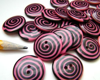 Whimsy Pink Swirl Buttons - 7/8 Inch -Two ( 2)  - Made in Italy