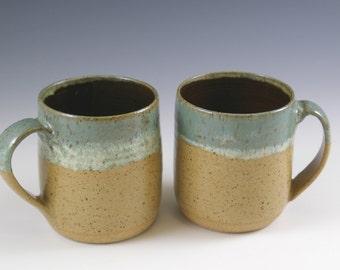 Two Pottery Handmade Coffee Mugs 16 oz. Sixteen Ounces Coffee Mug Set, Coffee Cup Gift, Tea Mug, Beer Mug, Kitchen and Dining, Drinkware