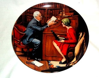Knowles Norman Rockwell Collectors Plate - The Professor - Tenth Plate in Rockwell's Heritage Collection