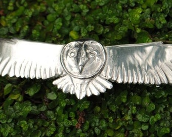 Barn Owl Pewter Hairslide