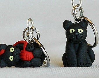 Black Cat Stitch Markers Set of 4 polymer clay miniature sculpted animal knit, crochet accessories