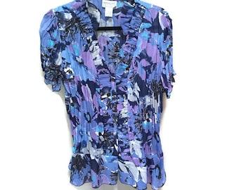 Plus Size Vintage Blouse, Blue Purple Floral Blouse Short Sleeve Blouse, 80s 90s Ruffle Blouse, XXL Vintage Blouse, Plus Size Blouse, 2XL