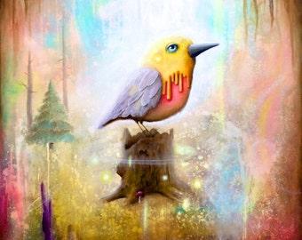 Bird Print - Pop Surrealism  -  Psychedelic  -  Home Deco -  Bird Art -  Cute Bird -  Art Print -  Surrealism -  Wall Deco -  Birds - Trees