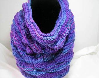 Purple Basket Weave Knitted Cowl Scarf in Acrylic Yarn