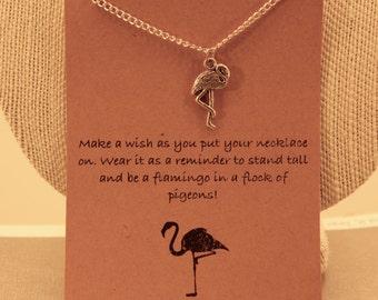 Flamingo Necklace: Be a Flamingo Charm Necklace, Wish Necklace, Wish Jewelry, Best Friends, Friendship Necklace, Motivational