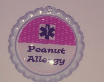 Peanut  Allergy Medical Alert  PU Leather Necklace Made TO order