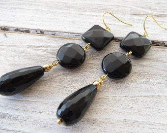 Black onyx earrings, gemstone earrings, agate earrings, drop earrings, dangle earrings, stone jewelry, contemporary jewelry, italian jewelry