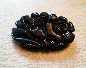 Vintage Carved Black Bakelite Brooch, Floral Motif, Vintage Bakelite, Brooches, Deep Carved Bakelite, Deco Era.