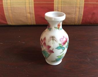 Vintage Mini Porcelain Bud Vase with Flowers