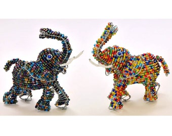 African Fair Trade Small Beaded Elephant - Wireworx wire and glass beaded animal - collectible elephant figurine