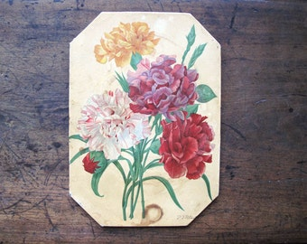 Vintage Collectible Wall Hanging Pierre Joseph Redoute Design Peonies Botalnical artist RARE hotplate
