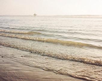 "Beach Photography, Sea Waves, Shoreline, Surfer, beach decor, breaking waves, sunlight, ocean sea ""Breaking Waves"""