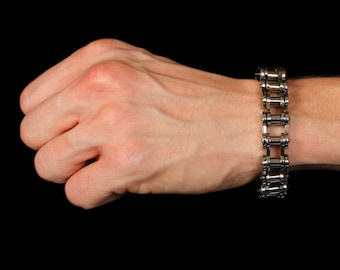 Motorcycle Chain Bracelet, High Polished Shiny, Stainless Steel, 100% Hypoallergenic