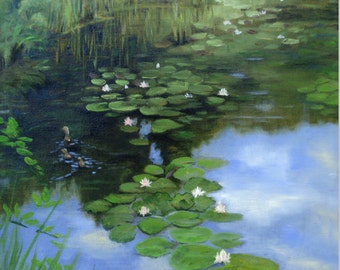Lily Pond Original oil Painting colorful 12 x 12 inch Green duck water sky calm serene