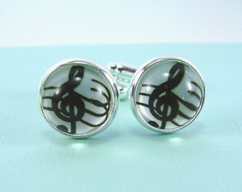 TREBLE CLEF Silver Cuff Links --  Cuff links for him or her, Gift for musicians, singers, dancers and music lovers, Wedding cuff links