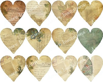 Digital Clip Art, Vintage Valentine Hearts Collage Sheet Clip Art, Instant Download  Downloadable, CU, Commercial Use, Personal Use ok