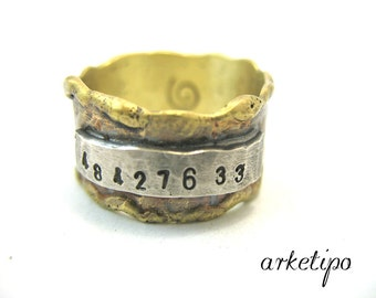 Brass Gps Ring - Sterling Silver part - Coordinates Ring - Custom - Personalized Men's Ring - Men's Band