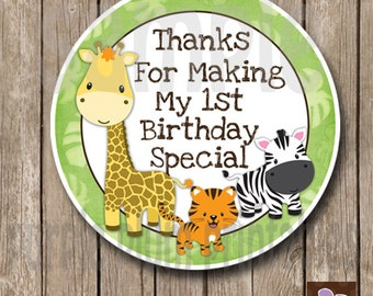 Instant Download - Safari First Birthday Favor Tags - Print at Home - 1st Birthday