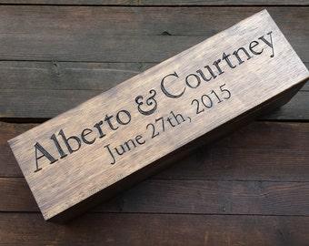 Wedding Wine Box, Wine box ceremony, first fight box, custom wine box, memory box, wedding gift, anniversary gift, shower gift