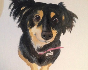 Custom Watercolor Dog Portrait (Made To Order)