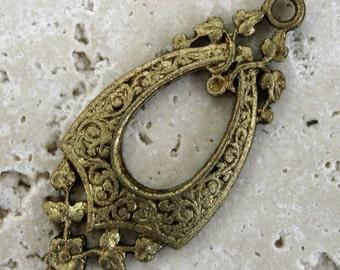 Vintage Framex Brass Teardrop Findings.  6 pcs.