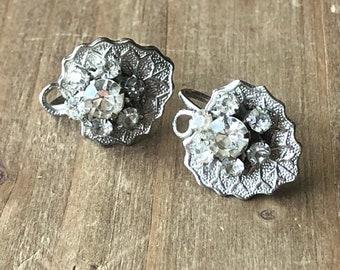 Vintage rhinestone screwback earrings