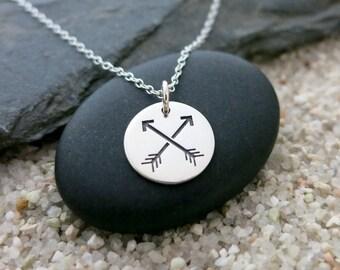 Friendship Arrows Necklace, Sterling Silver Crossed Arrows Charm, Friendship Jewelry