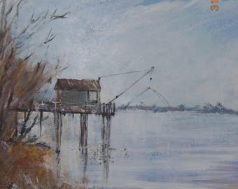 "Valentine's day gift painting ""Square at the edge of Garonne"" acrylic on Panel"