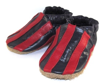 Soft Sole, Handmade, Leather Baby Shoes, Rocker, Stripes, Moccs, 12 to 18 Month