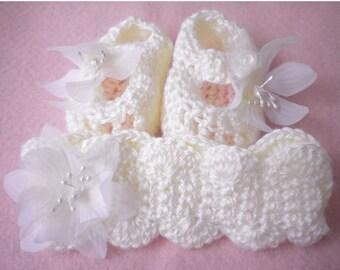 Crocheted Maryjanes Newborn Baby Girl Matching Headband Antique White 3 6 mo