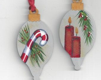 Set of Two Bulb Shaped Wood Ornaments