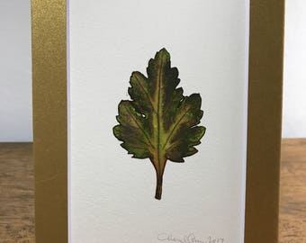 Watercolor & Ink Original 5x7 Matted Leaf