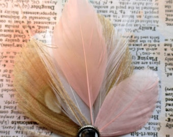 ELLE Ivoire et rose bleu paon pince à cheveux plume, Bibi d'inspiration Vintage