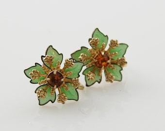 Vintage Mint Green and Faux Topaz Screw Back Earrings