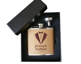 Personalized Flask with Gift Box and Funnel, Leather Flask, Groomsman Gift, Leather Groomsmen Flask, Best Man Gift, Wedding Party Gift Sets