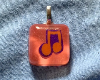 Resin Music Note Necklace