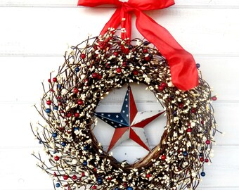 Summer Wreath-4th of July Wreath-4th of July Decor-Holiday Decor-Patriotic Wreath-Gift for Military-USA Home Decor-Red White & Blue Wreath
