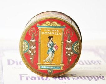 Antique Unopened L.T.Piver Paris Pompeia Powder Box - Art Deco White Face Powder