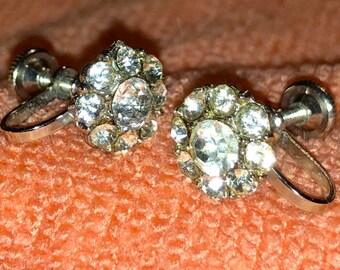 Vintage Rhinestone Screwback Earrings marked NEMO
